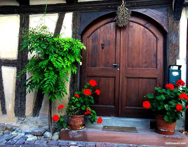 Alsace village door in France