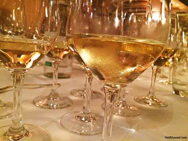 Alsace white wine in glass in France