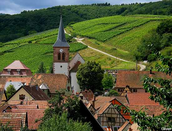 Alsace village on the wine road in France