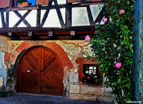A village in Alsace on the wine road in France