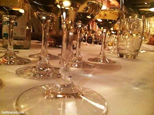 Alsace white wine in glasses